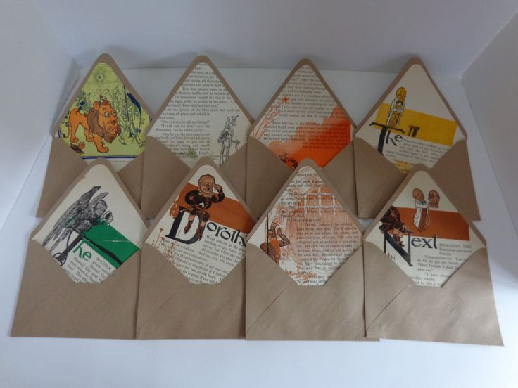 """Fantastic set of 8 handmade envelopes. The book that these came from is an original """"Wizard of Oz"""" from 1903. Set #5 by LeObjectUnique on Etsy"""
