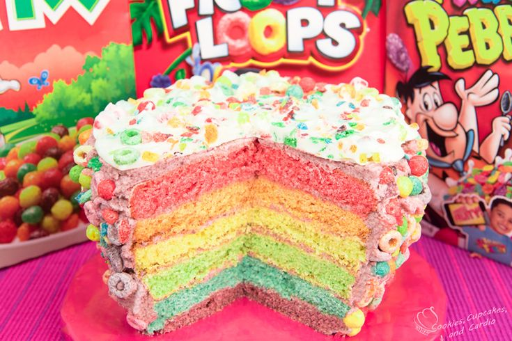 6 Layer Cereal Cake (Trix, Fruity Pebbles & Froot Loops Cereal)