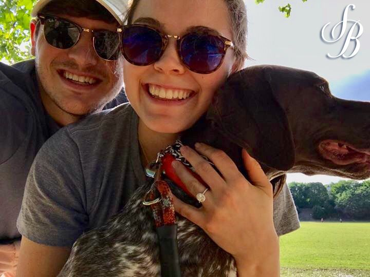 #TBT to the day Brian proposed to Carey in Piedmont Park with their pup! We can't take our eyes off that white and rose gold Sylvie Collection oval halo engagement ring...you probably can't either! #CustomerAppreciation #SylvieCollection #SolomonBrothers