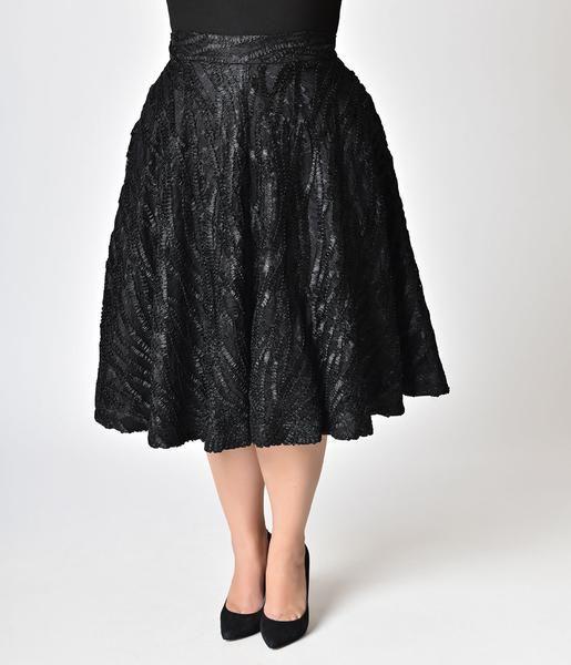 Janie Bryant For Unique Vintage Plus Size 1950s Black Ribbon High Wais