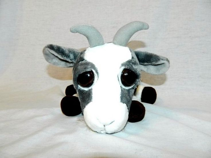 """RARE Russ Berrie Lil Peepers med 9"""" plush Grey White Billy Goat FERNAND big eyes #RussBerrie"""