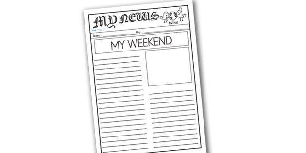 My Weekend Newspaper Writing Template - mt weekend newspaper, my ...