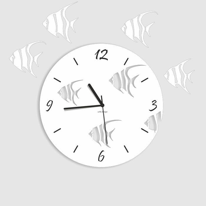 Dekoracyjny zegar ścienny Urlik Design Ryby, biały ◾ ◾ PrezentBox