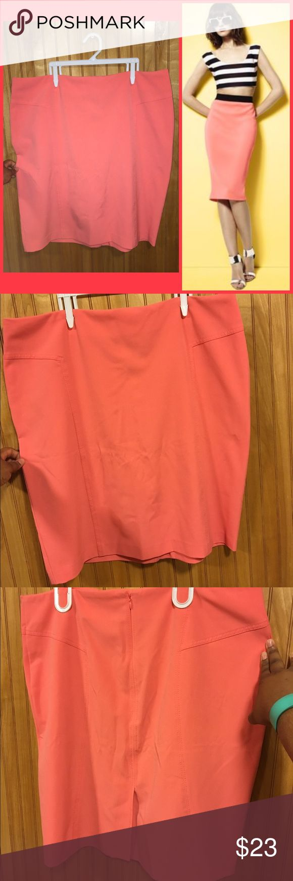 """🎉HP!🎉NY&COMPANY Coral Pencil Skirt Sz 16 Super cute, it just doesn't fit me anymore! Coral pencil skirt with slit in the back. Conforms to the curves and is very flattering. Measures: 22""""L x 39""""Waist x 45""""Hip. EUC. Sz 16. New York & Company Skirts Pencil"""