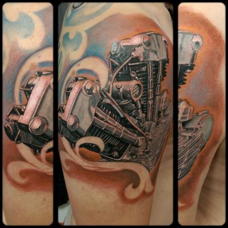 Realistic Harley Davidson Engine Tattoo | Projekty do ... - photo#7