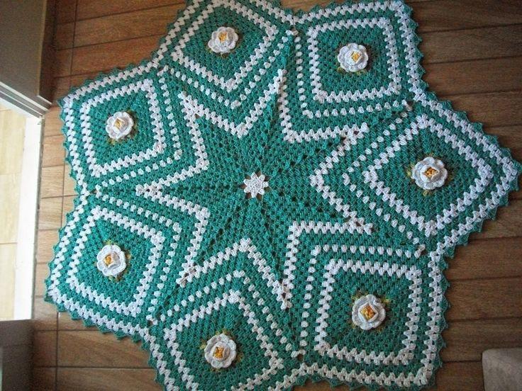 tapetes da regina tavares: tapete estrela com flores