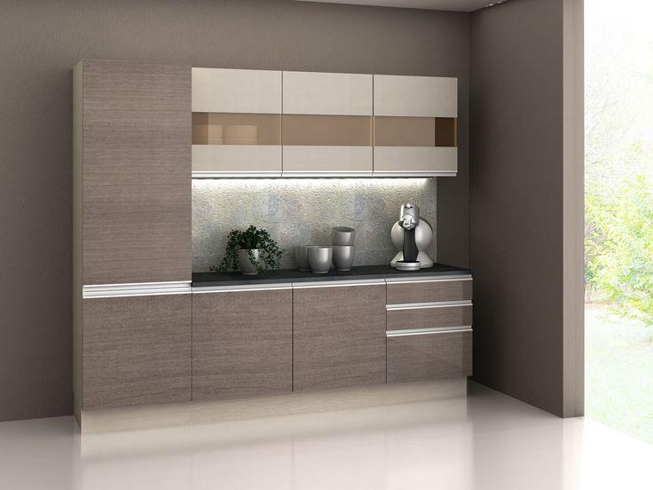 Cozinha Compacta Madesa Glamy com Balcão 7 Portas 3 Gavetas - Cozinhas Compactas - Magazine Luiza