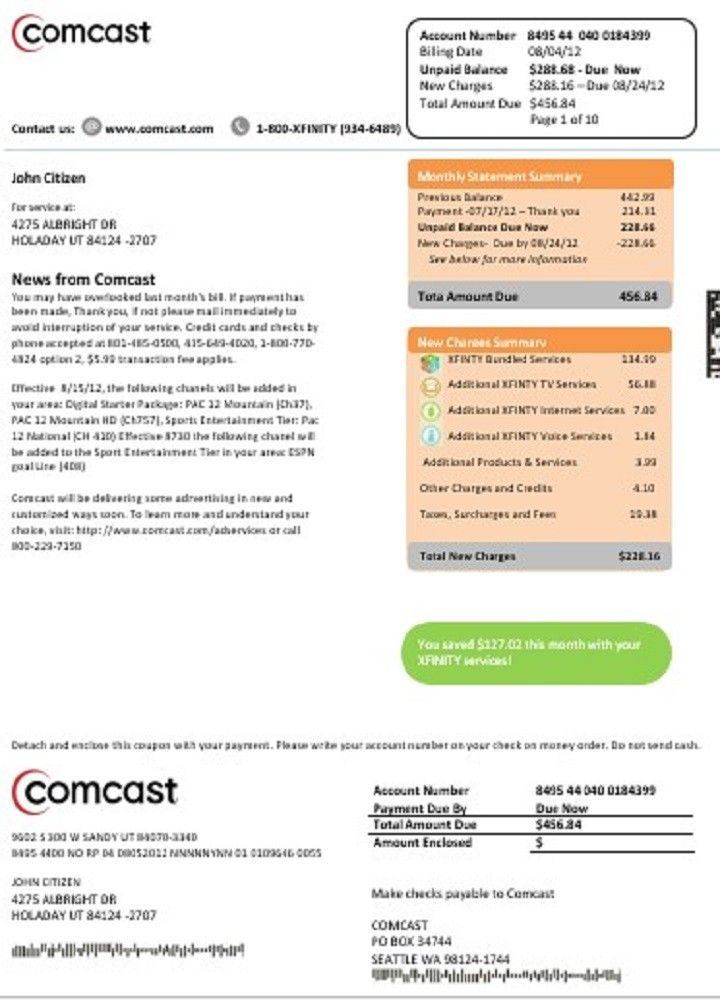 Completely Editable Usa Comcast Utility Bill Template In Doc Format Nbsp High Quality Template You Do Not Need Photoshop To Bill Template Utility Bill Comcast