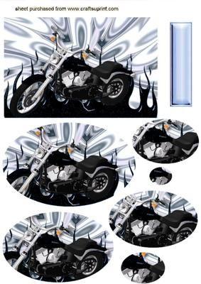 BLACK MOTOR BIKE ON SILVER EFFECT Oval Pyramids on Craftsuprint - Add To Basket!