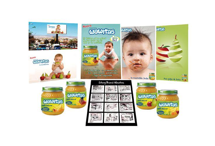 Preparación de la campaña publicitaria de una nueva compota para bebes WAWITAS. (logotipo, etiquetas, publicidad para revistas, aches, publicidad exterior y Story Board).