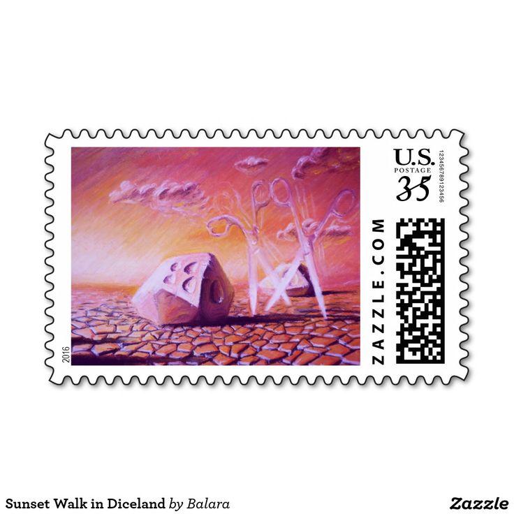Sunset Walk in Diceland Postage Stamp