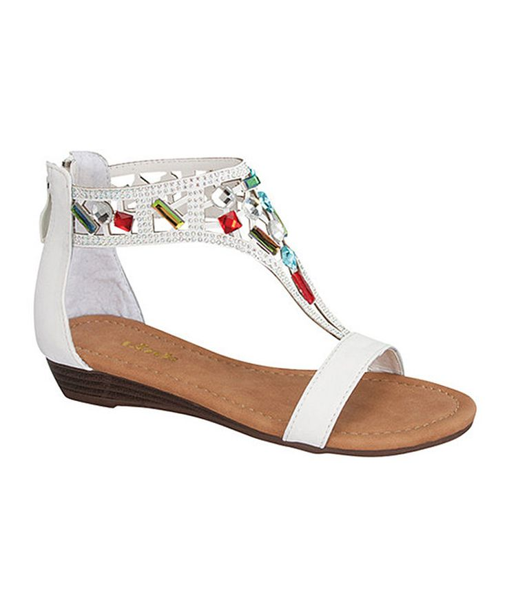 Look at this Link White Rhinestone Filosia Sandal on #zulily today!