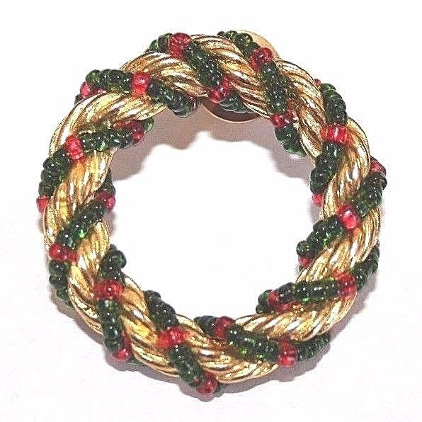 Brooch Pin - Christmas Wreath - Twist - Red & Green Beads - Gold Tone