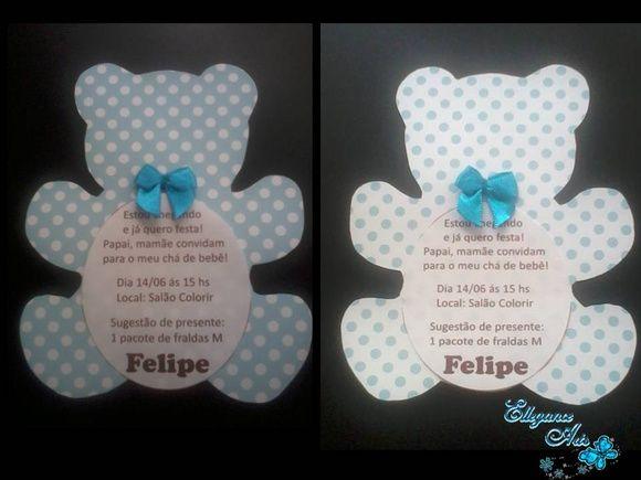 Convite Urso feito em papel de scrapbook.  Podendo ser feito em outras cores...    * Pedido mínimo 20 unidades... R$ 3,50
