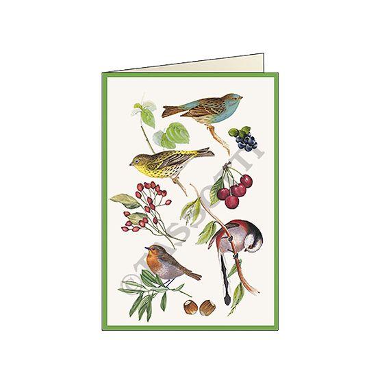 "Biglietto ""Uccelli canori"" - Card ""singing birds"" 11,5x16,8 cm"
