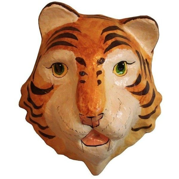 Decorative Paper-Mâché Tiger Mask ($195) ❤ liked on Polyvore featuring home, home decor, fillers, masks, animals, decor, object and tiger home decor