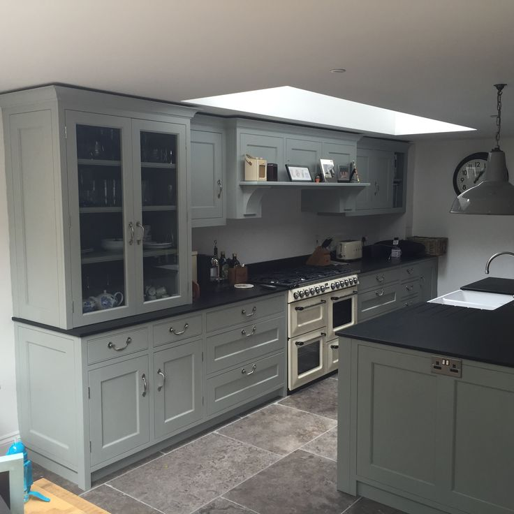 "Light Painted Cabinets Kitchen: Farrow & Ball ""Light Blue"" And ""Pigeon"""