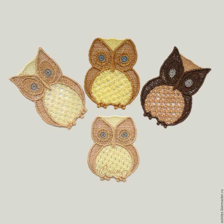 Купить аппликация вышитая Маленькие Совушки нашивка пришивная - вышивка аппликация, сова, совушка