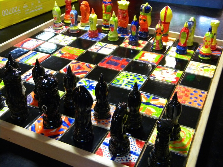 Auction project chess set for Monroe Christian School's third grade class!  Kate Cramer organized the whole thing - painted all the black, and took the rest of the pieces to the school to have the kids paint.  It looks AMAZING!