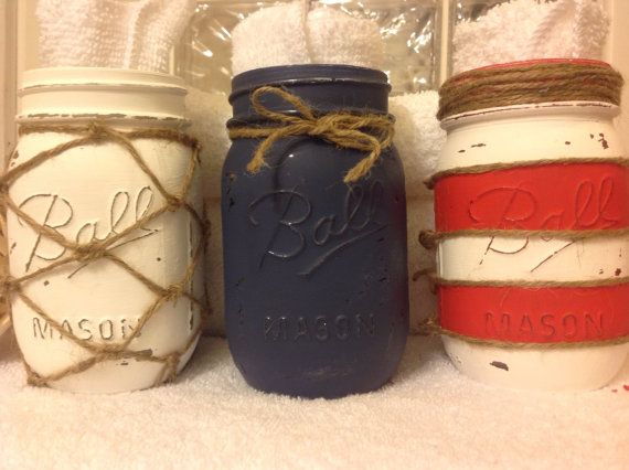 Set of 3 hand painted mason jars nautical by MidnightOwlCandleCo, $22.00