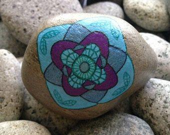 Painted rock, painted stone, hand painted rock, decorative rock, home decor, mandala rock, decoration, pebble art, rock art, birthday gift