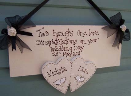 Personalised Wedding Two Heart Keepsake Plaque - Various Colours  £14.99
