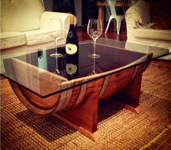 Oak wine barrel wood coffee table with tempered by UpcycledWoodOZ 607 CHF