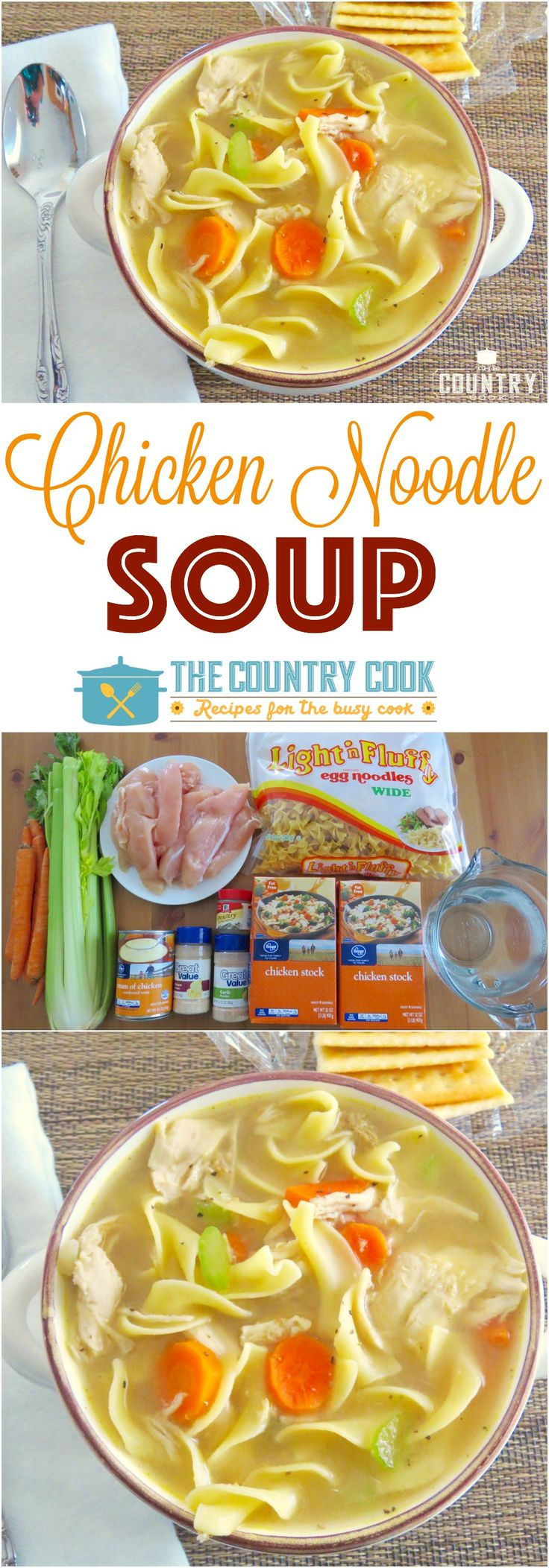 Easy One-Pot Chicken Noodle Soup recipe from The Country Cook