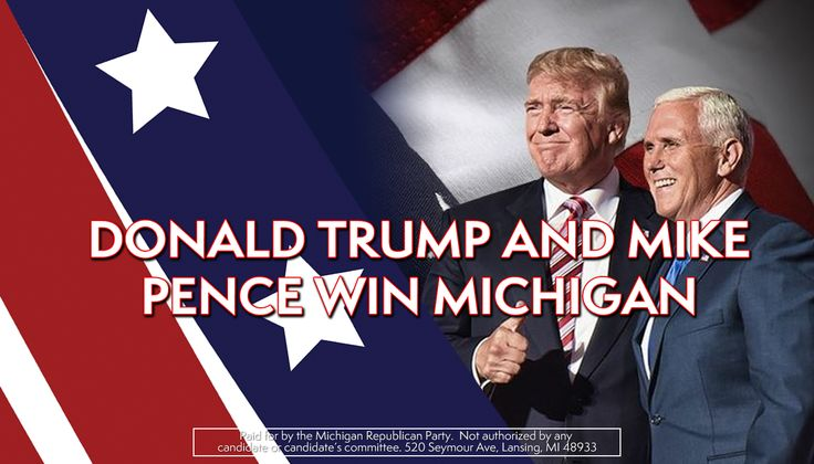 Michigan goes red! Congratulations President-elect Donald J. Trump and Vice President-elect Mike Pence for winning Michigan for the first time since 1988! http://www.migop.org/news/mrp-statement-on-michigan-presidential-election-result
