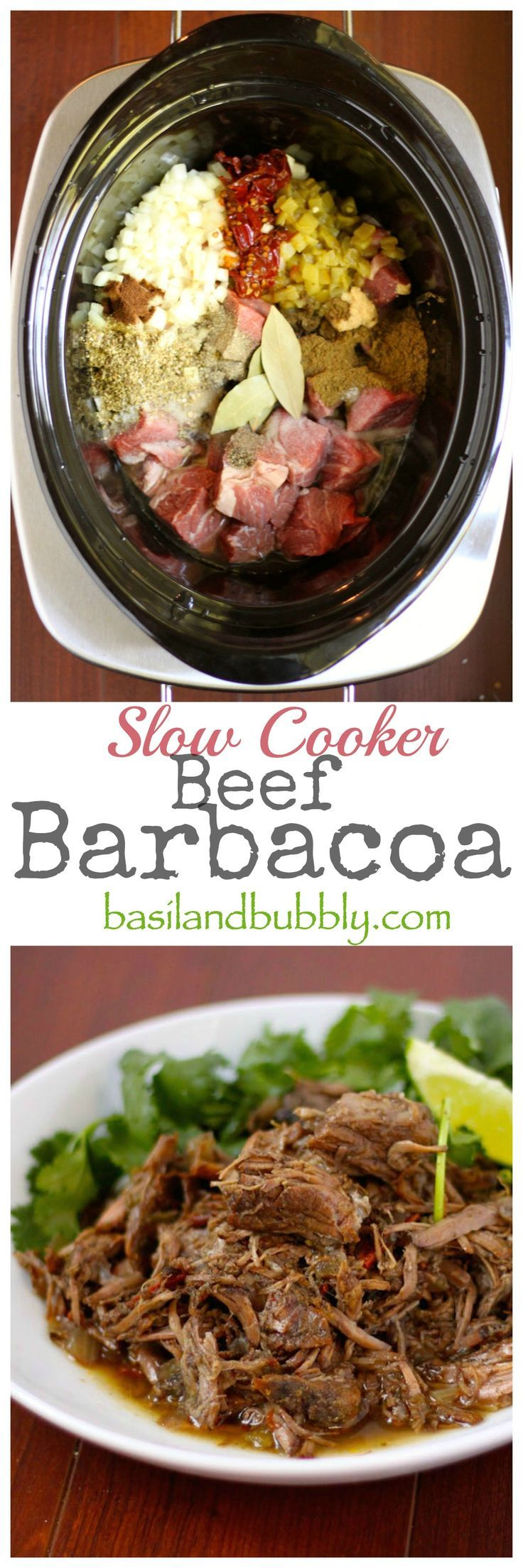 5 minutes of prep, and all day of stress-free slow cooking makes THE MOST tender, juicy shredded beef barbacoa for your tacos and salads!