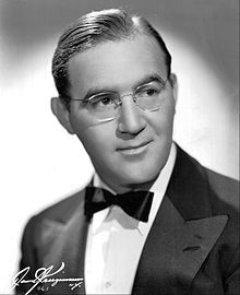 1940s mens hairstyle- 1942 parted, slicked flat- Benny Goodman