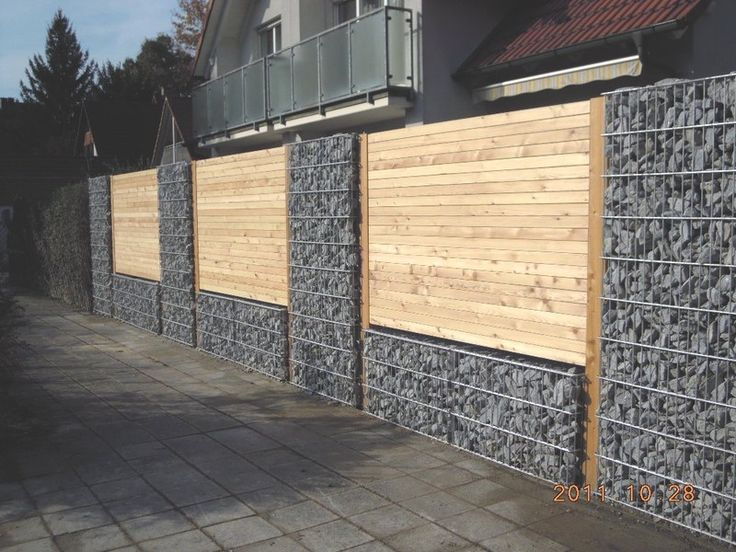 Kombi gabionen - Holz
