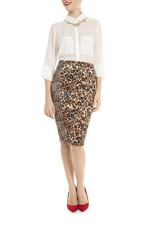 Animal Print Scuba Midi Skirt from Matalan #leopardprint