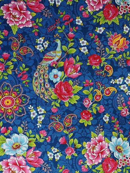 PiP Studio Flowers in the mix dark blue wallpaper