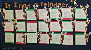 Footprint Reindeer Bulletin Board Idea For Christmas