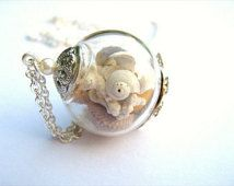 Zee schelp ketting, echte Seashell sieraden, strand sieraden, nautische sieraden, zilveren ketting, Globe ketting