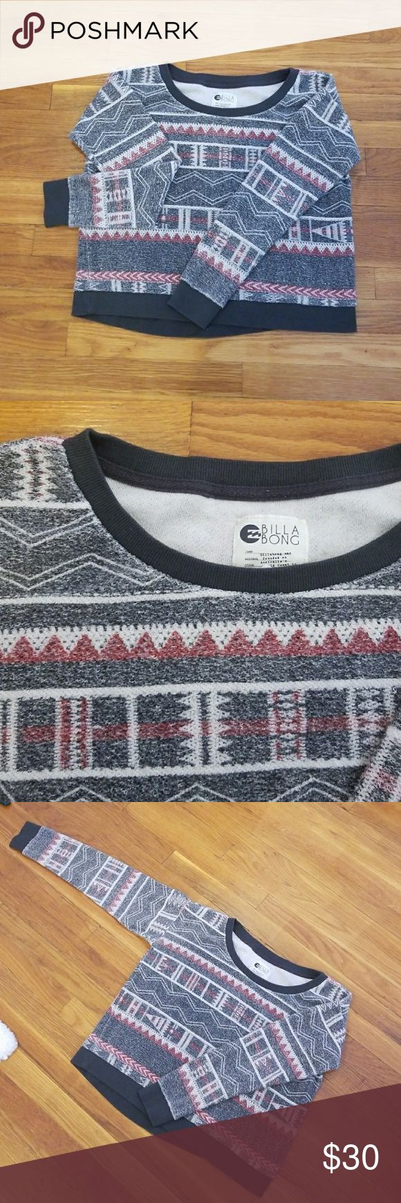 Billabong tribal print sweater Adorable tribal print sweater! Great material featuring terry cloth texture. In great condition Billabong Sweaters Crew & Scoop Necks