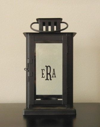 Custom Personalized Monogram Lantern - Black - Table Number