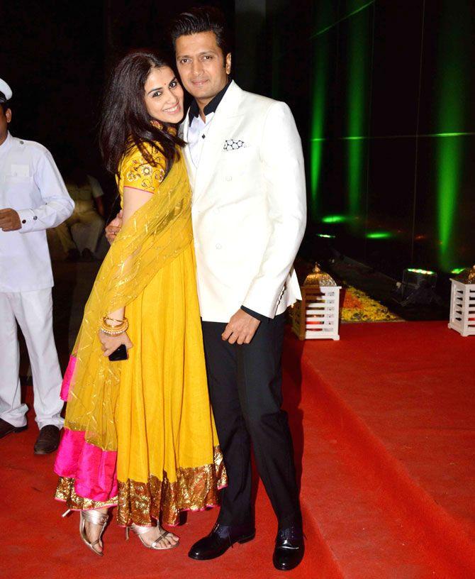 Riteish Deshmukh and Genelia D'Souza Deshmukh at Ashish Chowdhry's #Diwali bash…