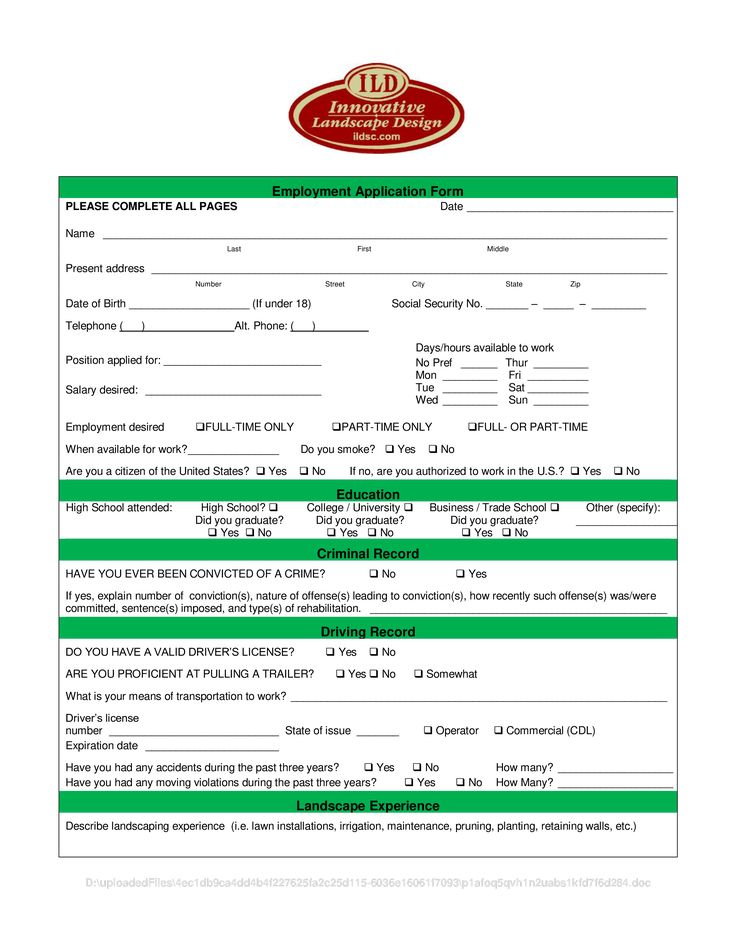 Landscape Employment Application Form How to create a