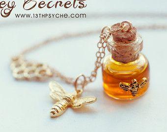 Honey Bottle necklace. honey vial necklace. glass Bottle Pendant. miniature bottle, light gold necklace, bee necklace, potion bottle pendant