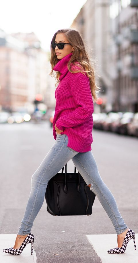 Cerise « Kenzas by Kenzas That fuchsia sweater and them heels...killer! Even with a pencil black knee length skirt would be great.
