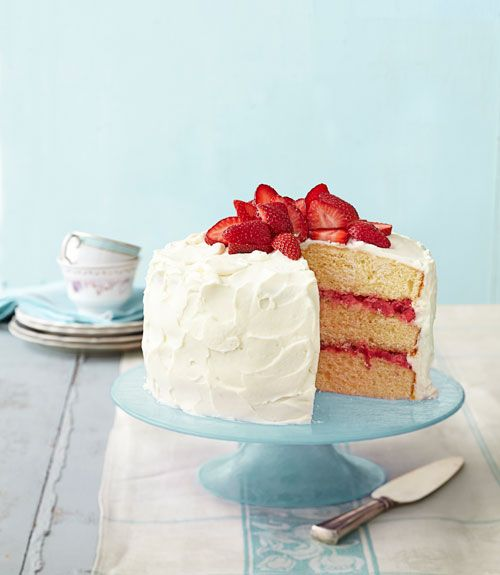This luscious Strawberry Rhubarb Layer Cake, layered with fresh compote and frosted with sweet, cream cheese icing, is sure to become a family favorite.