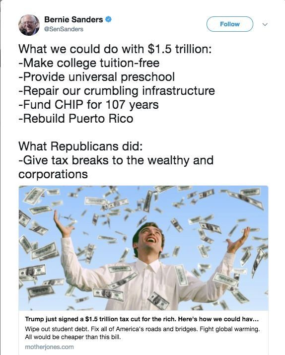 "What common good could have been accomplished, whether these shown or other useful programs or benefits such as universal healthcare or alternative energy ... instead we get this colossal, misguided and mean-spirited Republican ""tax plan"" giveaway transfer of wealth to the greedy 1% and Corporations who neither need or deserve it!!"