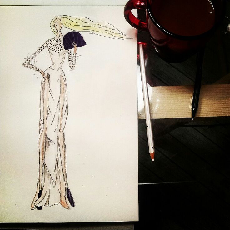 Fashion design sketch with black elements #fashion #illustration#sketch