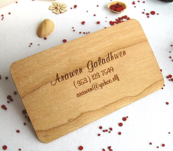 Engraved cherry wood business cards (50 pcs). $45.00, via Etsy.