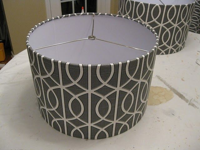 Great, easy DIY on how to cover a lamp shade with fabric to give it new life.