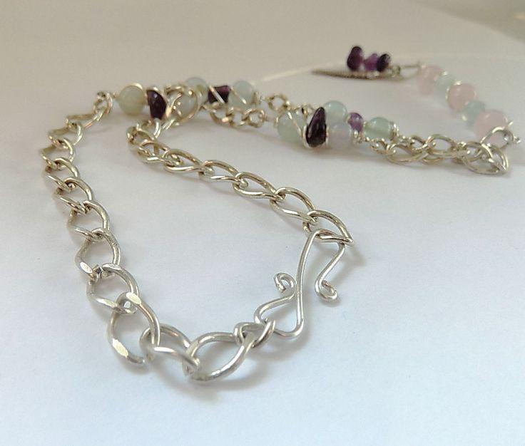 #Rose #Quartz Pendant, #Amethyst #Pendant, #Aquamarine Pendant, Pendant Necklace, #Boho Gemstone #Necklace, #Silver Gemstone Necklace