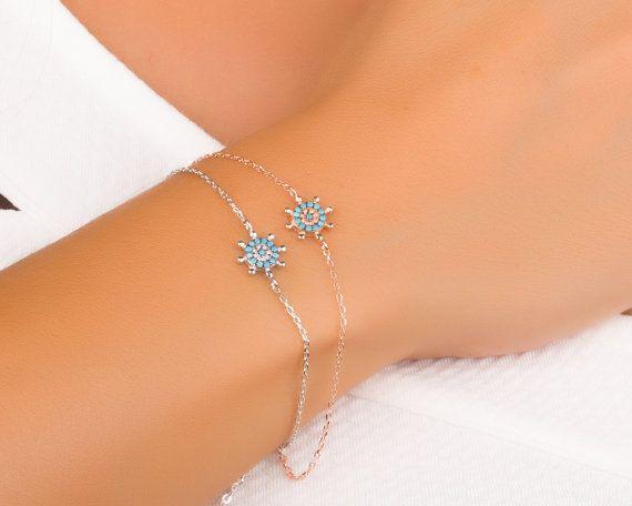 Turquoise Bracelet Nautical Bracelet Silver Turquoise