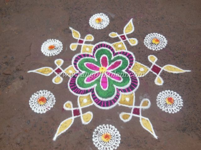Free hand design fusion kolam with colour and used stencil design on outer side for full fill the kolam